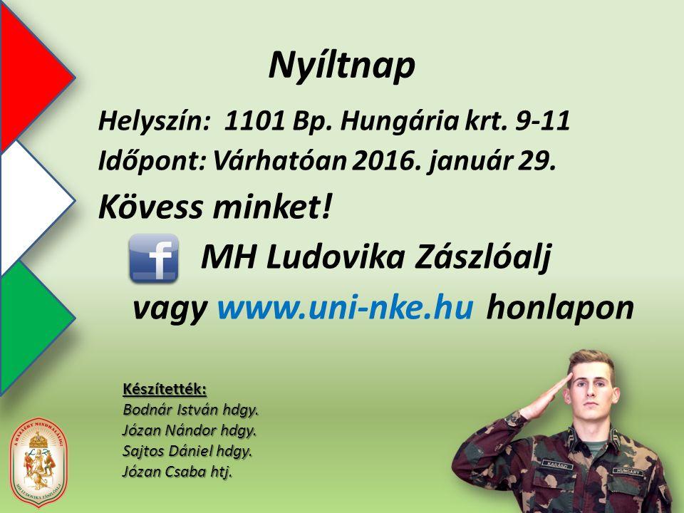 Nyíltnap Helyszín: 1101 Bp. Hungária krt. 9-11 Időpont: Várhatóan 2016.