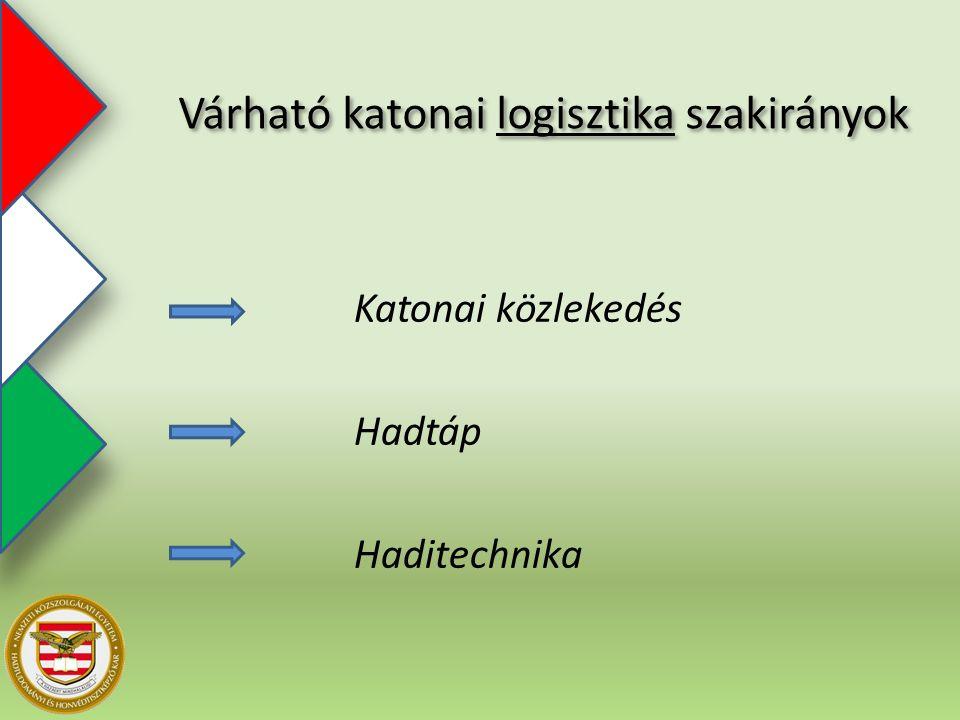 Katonai közlekedés Hadtáp Haditechnika Várható katonai logisztika szakirányok