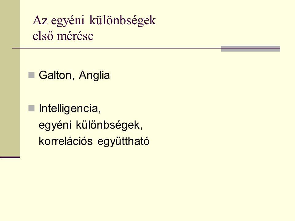 Az egyéni különbségek első mérése Galton, Anglia Intelligencia, egyéni különbségek, korrelációs együttható