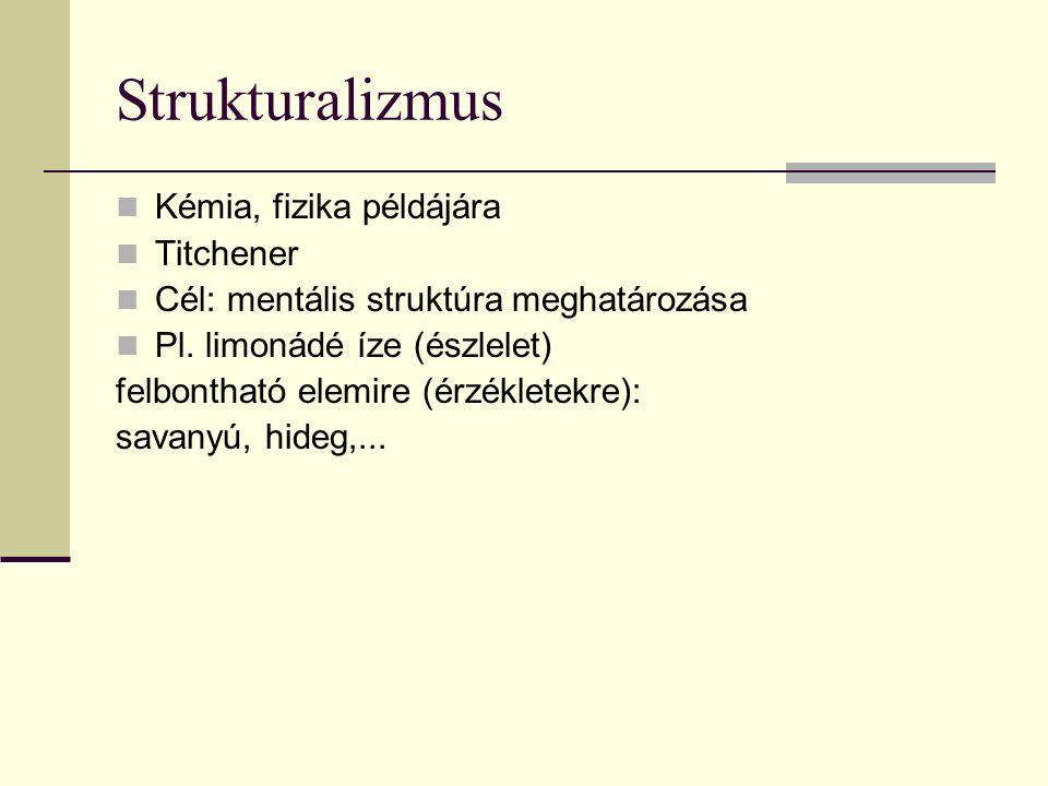 Strukturalizmus Kémia, fizika példájára Titchener Cél: mentális struktúra meghatározása Pl. limonádé íze (észlelet) felbontható elemire (érzékletekre)