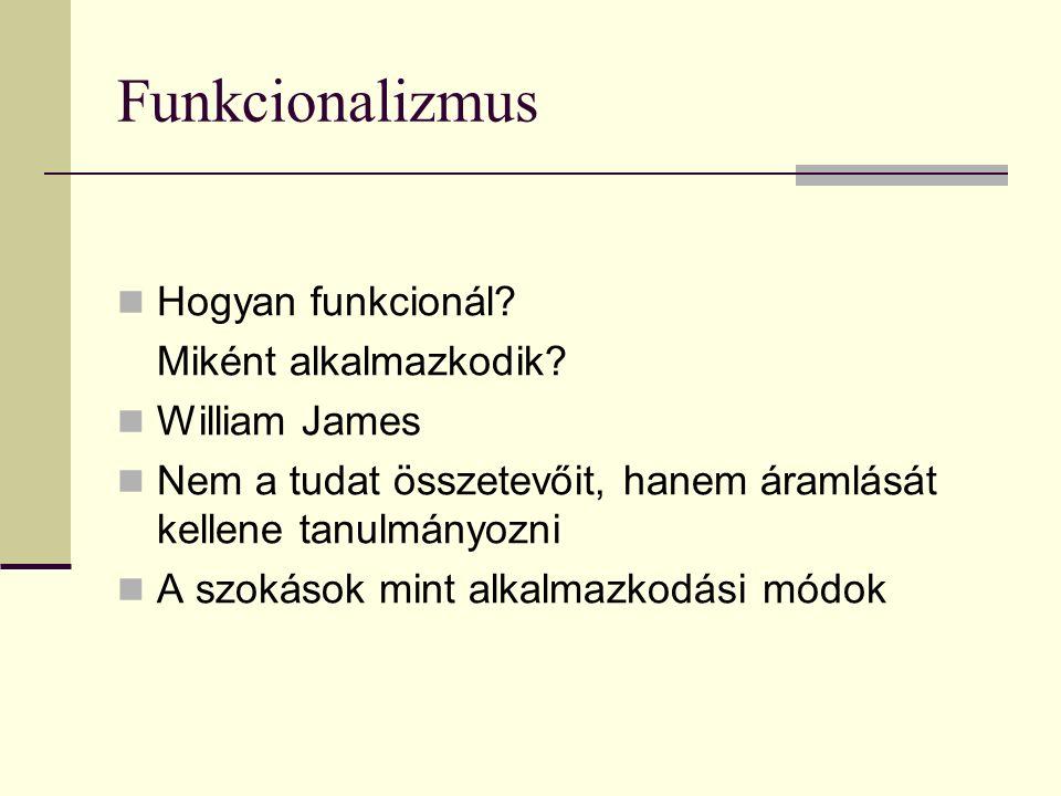 Funkcionalizmus Hogyan funkcionál? Miként alkalmazkodik? William James Nem a tudat összetevőit, hanem áramlását kellene tanulmányozni A szokások mint