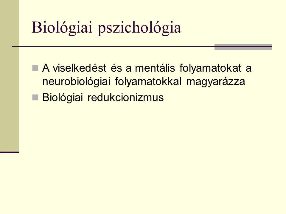 Biológiai pszichológia A viselkedést és a mentális folyamatokat a neurobiológiai folyamatokkal magyarázza Biológiai redukcionizmus