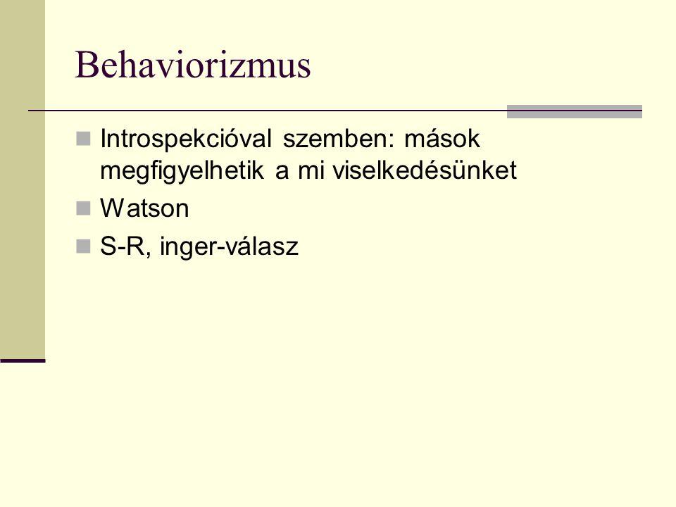 Behaviorizmus Introspekcióval szemben: mások megfigyelhetik a mi viselkedésünket Watson S-R, inger-válasz