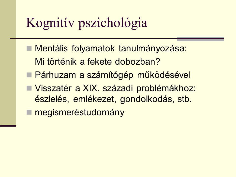 Kognitív pszichológia Mentális folyamatok tanulmányozása: Mi történik a fekete dobozban.