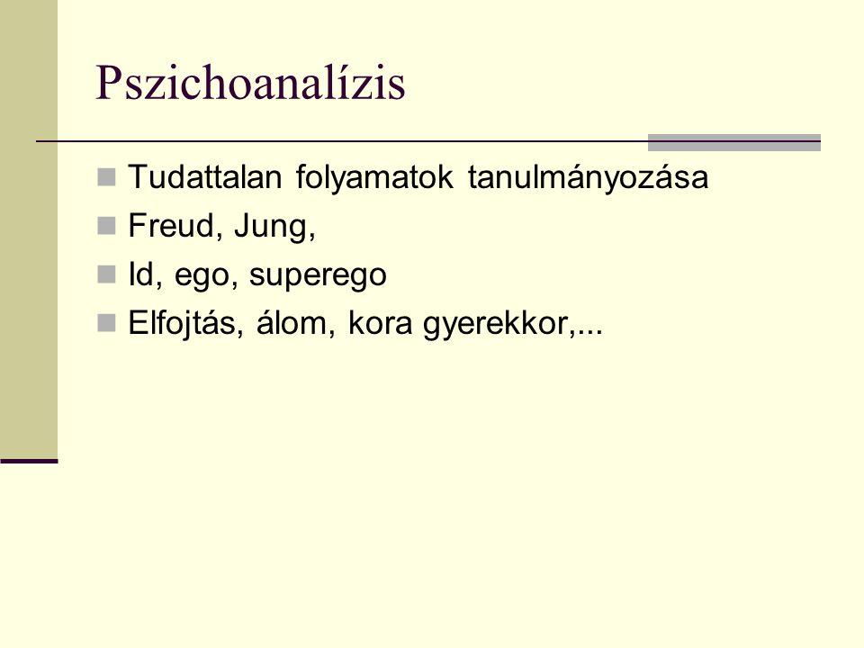 Pszichoanalízis Tudattalan folyamatok tanulmányozása Freud, Jung, Id, ego, superego Elfojtás, álom, kora gyerekkor,...