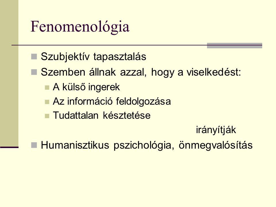 Fenomenológia Szubjektív tapasztalás Szemben állnak azzal, hogy a viselkedést: A külső ingerek Az információ feldolgozása Tudattalan késztetése irányí
