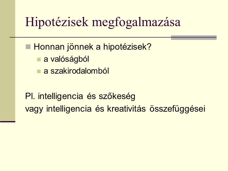 Hipotézisek megfogalmazása Honnan jönnek a hipotézisek? a valóságból a szakirodalomból Pl. intelligencia és szőkeség vagy intelligencia és kreativitás