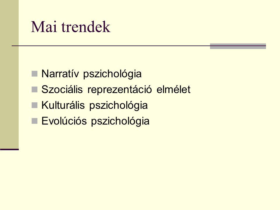 Mai trendek Narratív pszichológia Szociális reprezentáció elmélet Kulturális pszichológia Evolúciós pszichológia