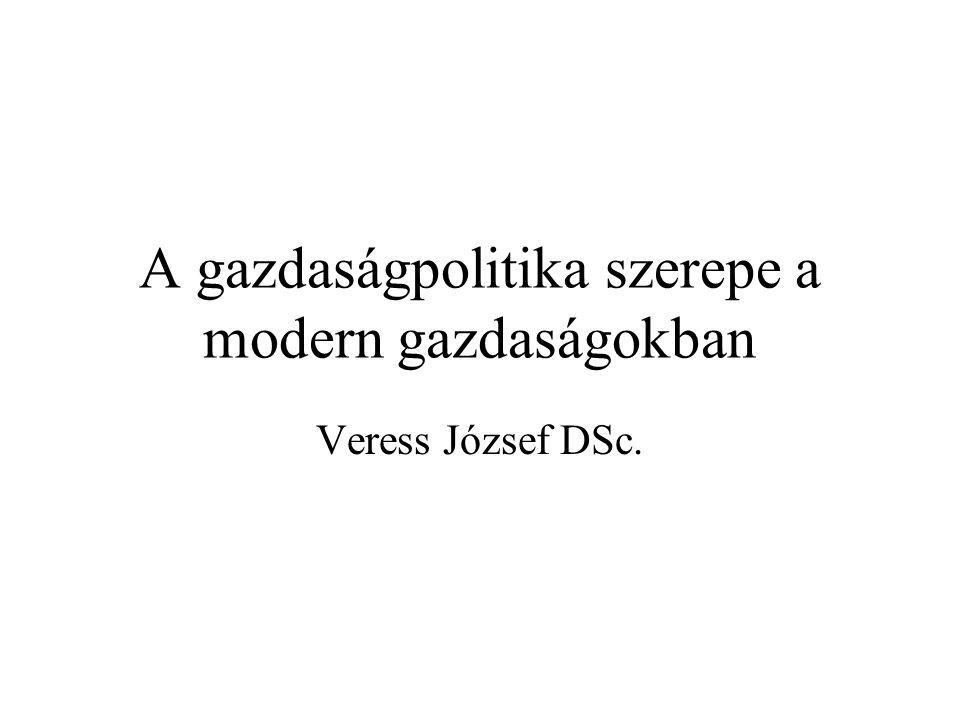 A gazdaságpolitika szerepe a modern gazdaságokban Veress József DSc.
