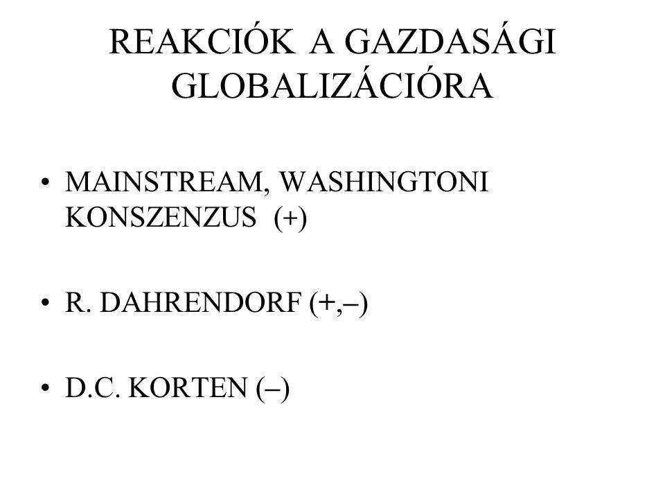 REAKCIÓK A GAZDASÁGI GLOBALIZÁCIÓRA MAINSTREAM, WASHINGTONI KONSZENZUS ( + ) R. DAHRENDORF (+,–) D.C. KORTEN (–)
