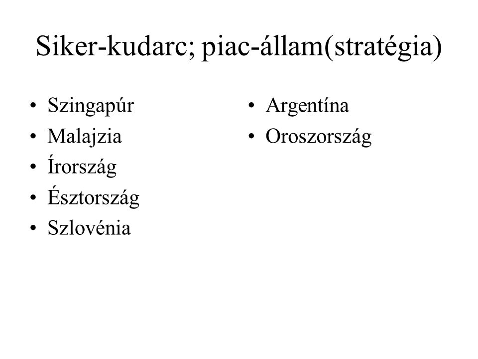 Siker-kudarc; piac-állam(stratégia) Szingapúr Malajzia Írország Észtország Szlovénia Argentína Oroszország