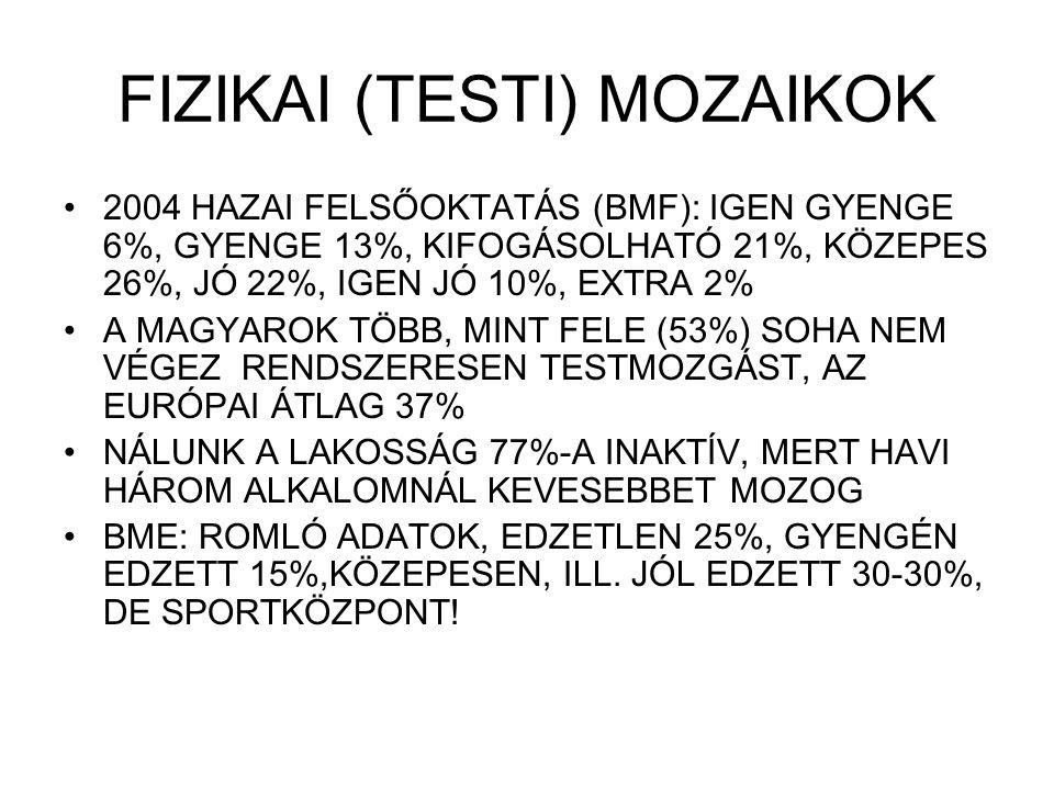 FIZIKAI (TESTI) MOZAIKOK 2004 HAZAI FELSŐOKTATÁS (BMF): IGEN GYENGE 6%, GYENGE 13%, KIFOGÁSOLHATÓ 21%, KÖZEPES 26%, JÓ 22%, IGEN JÓ 10%, EXTRA 2% A MA
