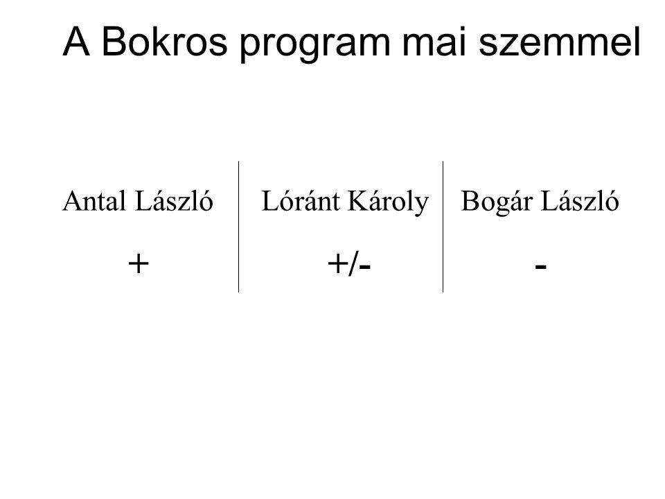 A Bokros program mai szemmel Antal LászlóLóránt KárolyBogár László ++/- -