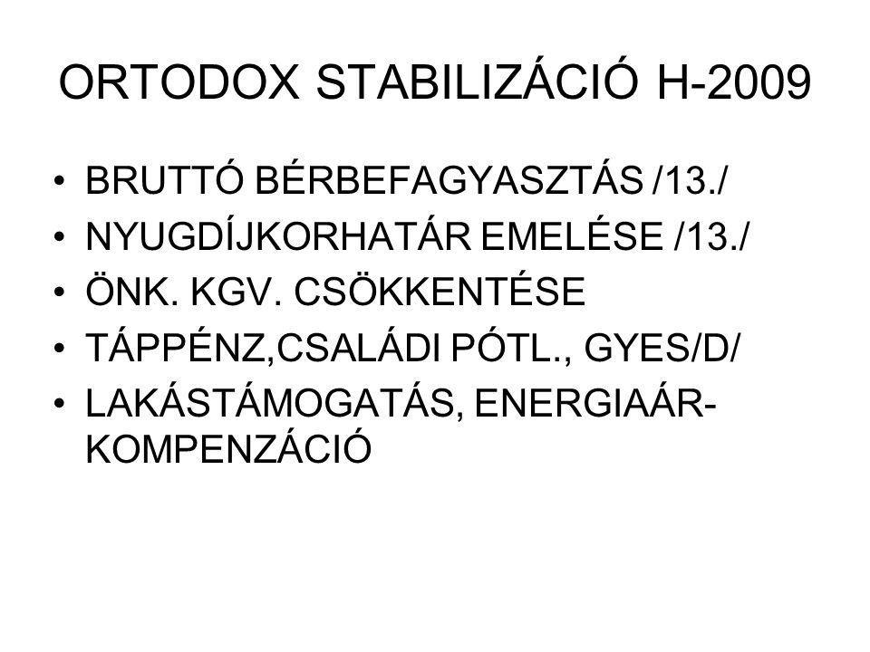 ORTODOX STABILIZÁCIÓ H-2009 BRUTTÓ BÉRBEFAGYASZTÁS /13./ NYUGDÍJKORHATÁR EMELÉSE /13./ ÖNK. KGV. CSÖKKENTÉSE TÁPPÉNZ,CSALÁDI PÓTL., GYES/D/ LAKÁSTÁMOG
