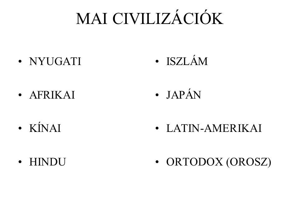 MAI CIVILIZÁCIÓK NYUGATI AFRIKAI KÍNAI HINDU ISZLÁM JAPÁN LATIN-AMERIKAI ORTODOX (OROSZ)
