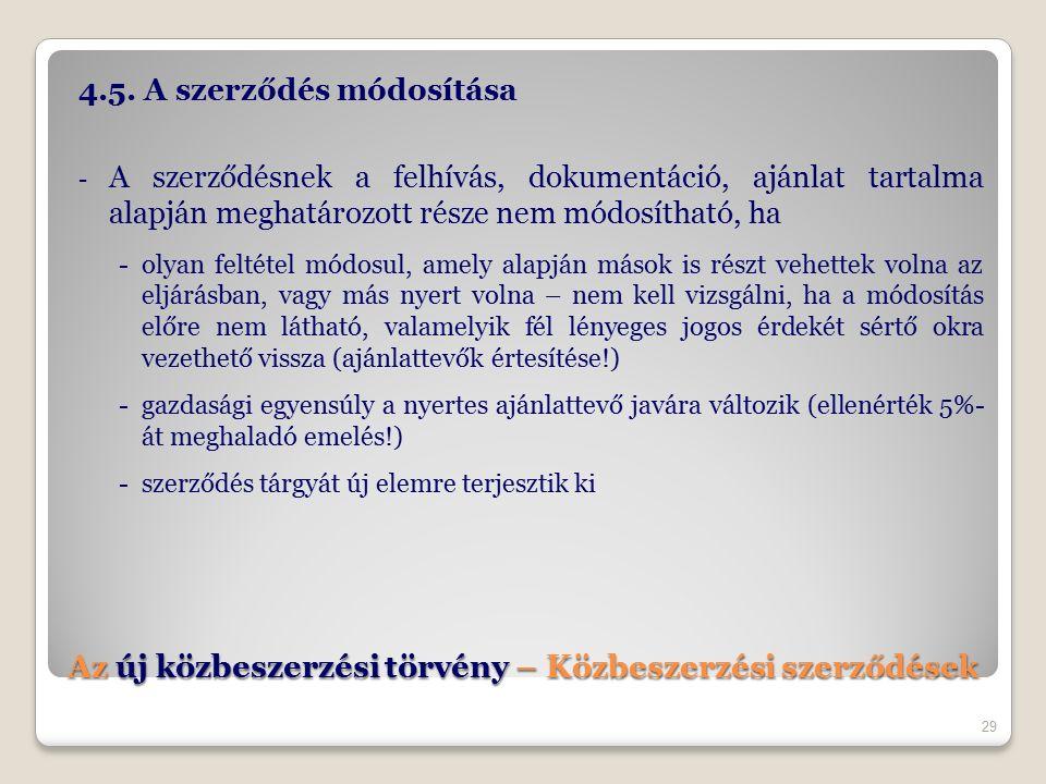 Az új közbeszerzési törvény – Közbeszerzési szerződések 4.5.
