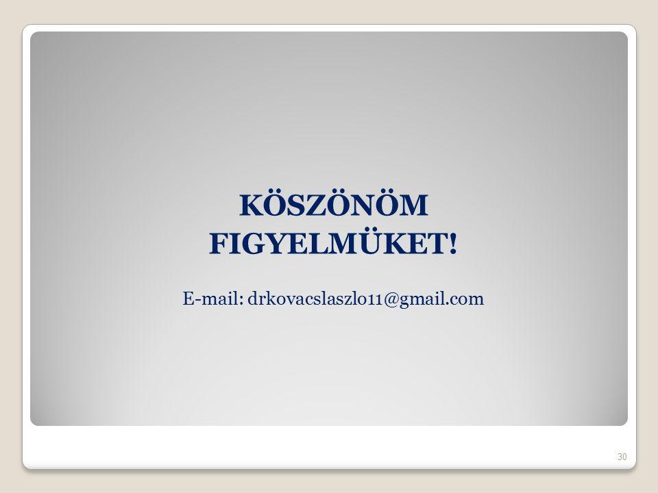 KÖSZÖNÖM FIGYELMÜKET! E-mail: drkovacslaszlo11@gmail.com 30
