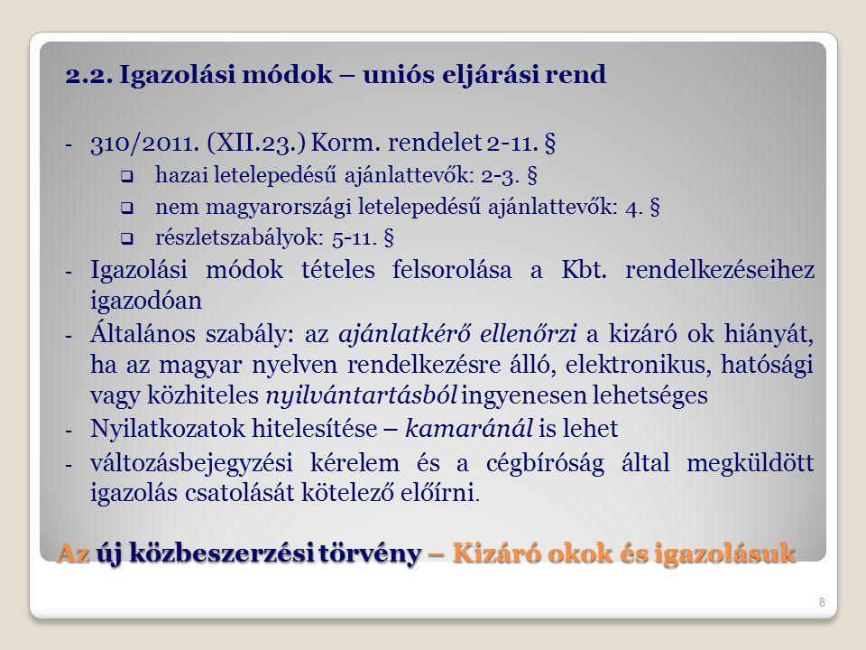 Az új közbeszerzési törvény – Kizáró okok és igazolásuk 2.2. Igazolási módok – uniós eljárási rend - 310/2011. (XII.23.) Korm. rendelet 2-11. §  haza