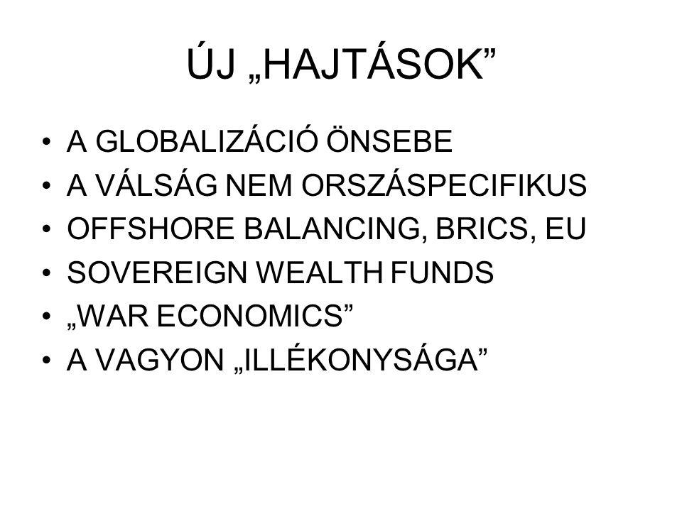 """ÚJ """"HAJTÁSOK"""" A GLOBALIZÁCIÓ ÖNSEBE A VÁLSÁG NEM ORSZÁSPECIFIKUS OFFSHORE BALANCING, BRICS, EU SOVEREIGN WEALTH FUNDS """"WAR ECONOMICS"""" A VAGYON """"ILLÉKO"""