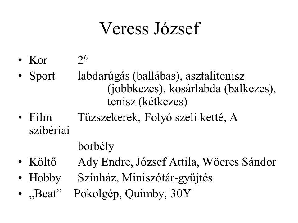 """Veress József Kor2 6 Sportlabdarúgás (ballábas), asztalitenisz (jobbkezes), kosárlabda (balkezes), tenisz (kétkezes) FilmTűzszekerek, Folyó szeli ketté, A szibériai borbély KöltőAdy Endre, József Attila, Wöeres Sándor HobbySzínház, Miniszótár-gyűjtés """"Beat Pokolgép, Quimby, 30Y"""