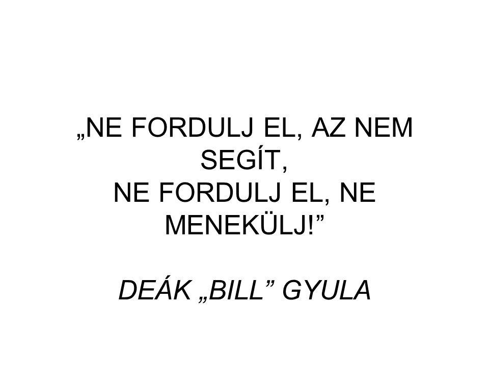 """""""NE FORDULJ EL, AZ NEM SEGÍT, NE FORDULJ EL, NE MENEKÜLJ! DEÁK """"BILL GYULA"""