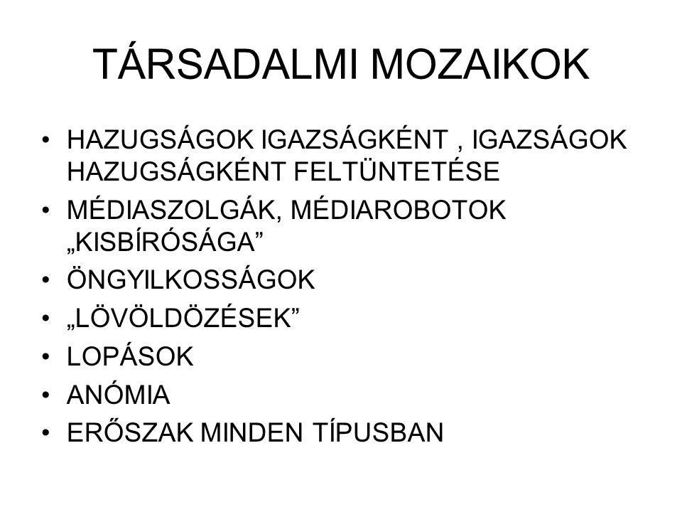 """TÁRSADALMI MOZAIKOK HAZUGSÁGOK IGAZSÁGKÉNT, IGAZSÁGOK HAZUGSÁGKÉNT FELTÜNTETÉSE MÉDIASZOLGÁK, MÉDIAROBOTOK """"KISBÍRÓSÁGA ÖNGYILKOSSÁGOK """"LÖVÖLDÖZÉSEK LOPÁSOK ANÓMIA ERŐSZAK MINDEN TÍPUSBAN"""