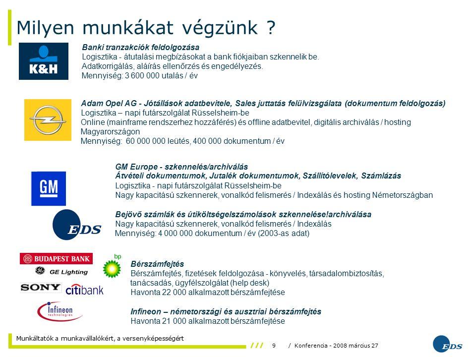 9/ Konferencia - 2008 március 27 Munkáltatók a munkavállalókért, a versenyképességért Milyen munkákat végzünk .