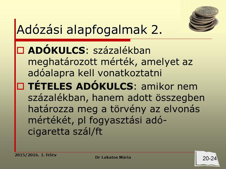 Dr Lakatos Mária 2015/2016. I. félév Adózási alapfogalmak 2.
