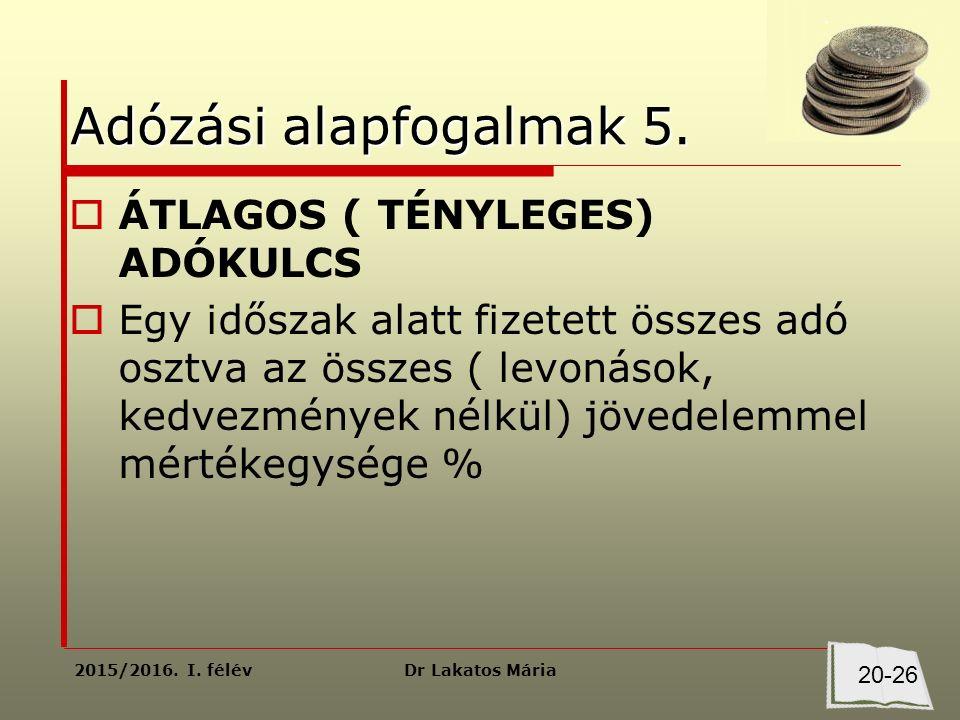 Dr Lakatos Mária2015/2016. I. félév Adózási alapfogalmak 5.