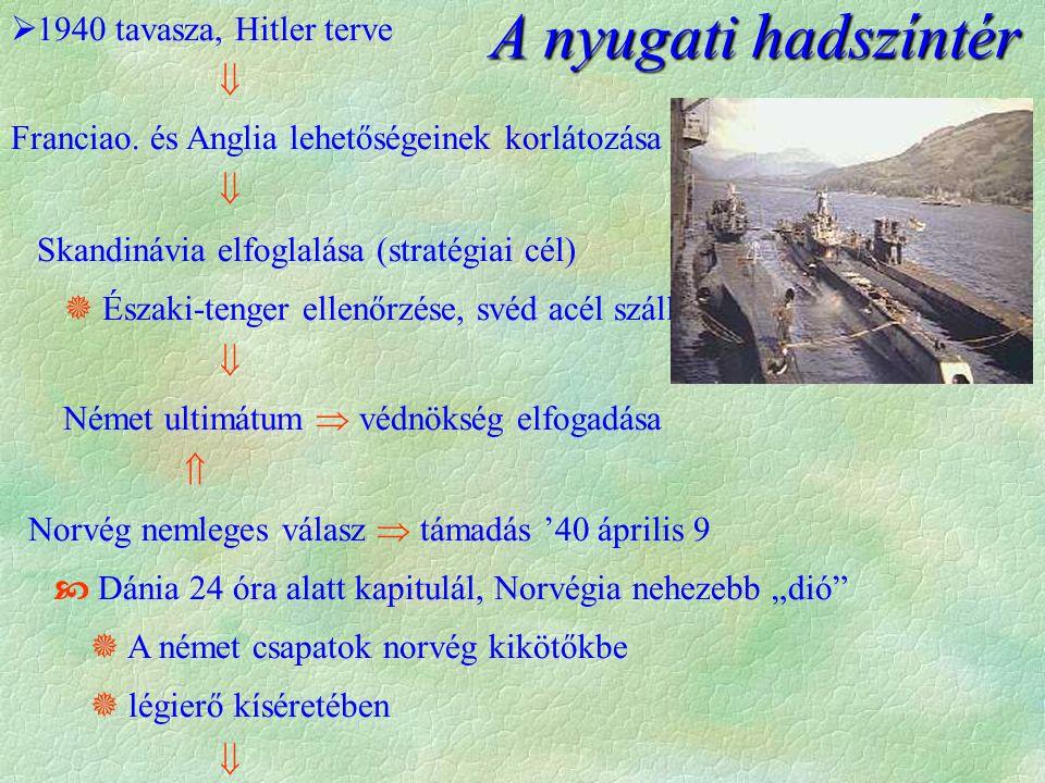 A nyugati hadszíntér  1940 tavasza, Hitler terve  Franciao. és Anglia lehetőségeinek korlátozása  Skandinávia elfoglalása (stratégiai cél)  Északi
