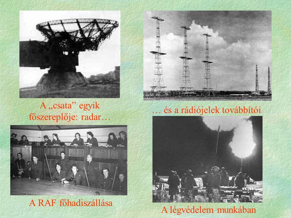 """A RAF főhadiszállása A légvédelem munkában A """"csata egyik főszereplője: radar… … és a rádiójelek továbbítói"""