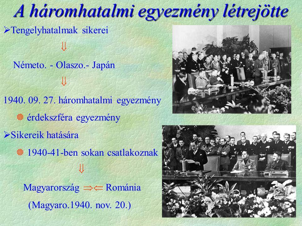  Tengelyhatalmak sikerei  Németo. - Olaszo.- Japán  1940. 09. 27. háromhatalmi egyezmény  érdekszféra egyezmény  Sikereik hatására  1940-41-ben