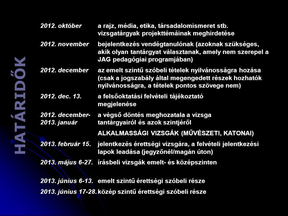 H A T Á R I D Ő K 2012. októbera rajz, média, etika, társadalomismeret stb. vizsgatárgyak projekttémáinak meghirdetése 2012. novemberbejelentkezés ven