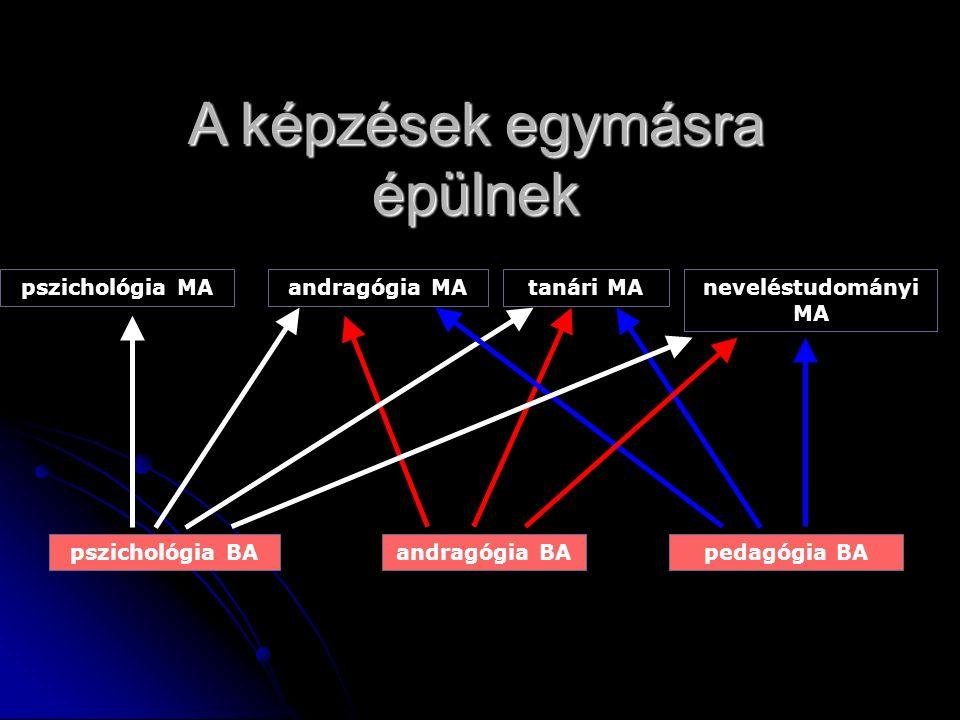 A képzések egymásra épülnek pszichológia BAandragógia BApedagógia BA pszichológia MAandragógia MAneveléstudományi MA tanári MA