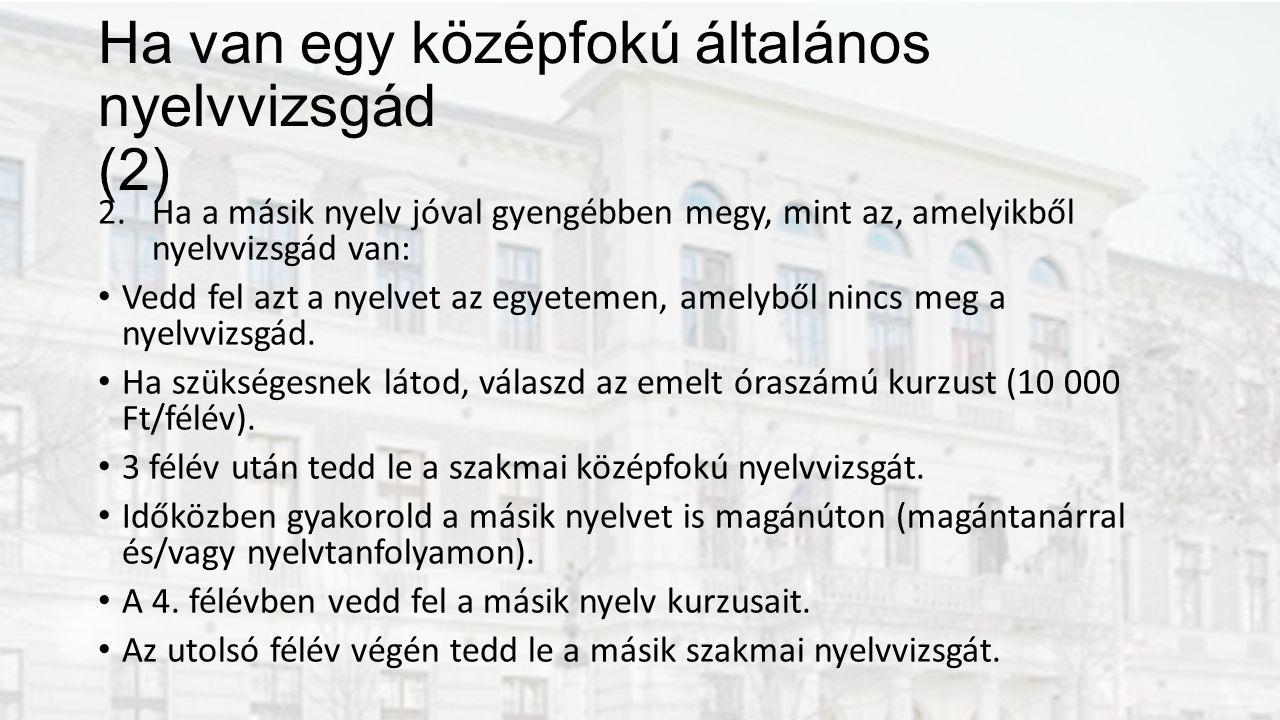 Ha van egy középfokú általános nyelvvizsgád (2) 2.Ha a másik nyelv jóval gyengébben megy, mint az, amelyikből nyelvvizsgád van: Vedd fel azt a nyelvet az egyetemen, amelyből nincs meg a nyelvvizsgád.