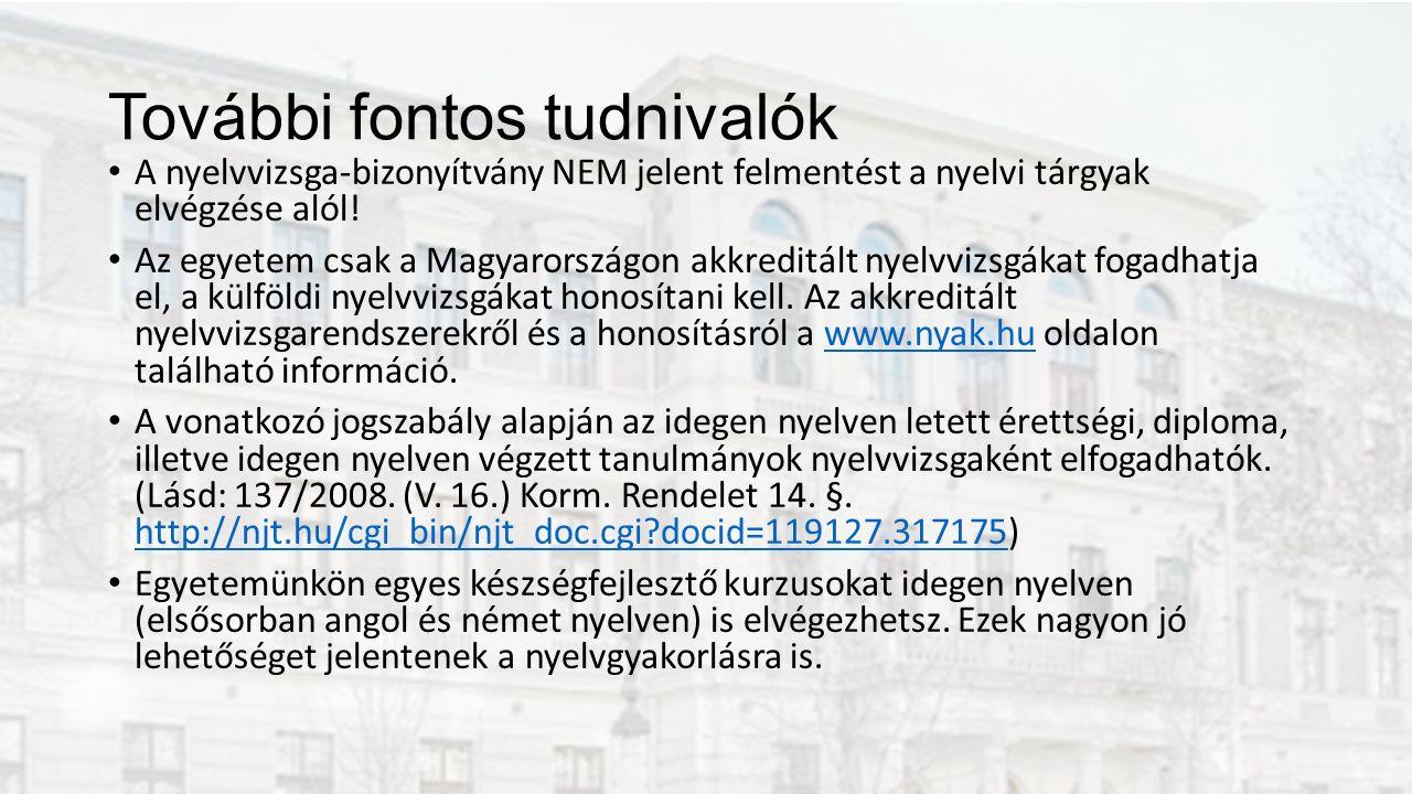 További fontos tudnivalók A nyelvvizsga-bizonyítvány NEM jelent felmentést a nyelvi tárgyak elvégzése alól.