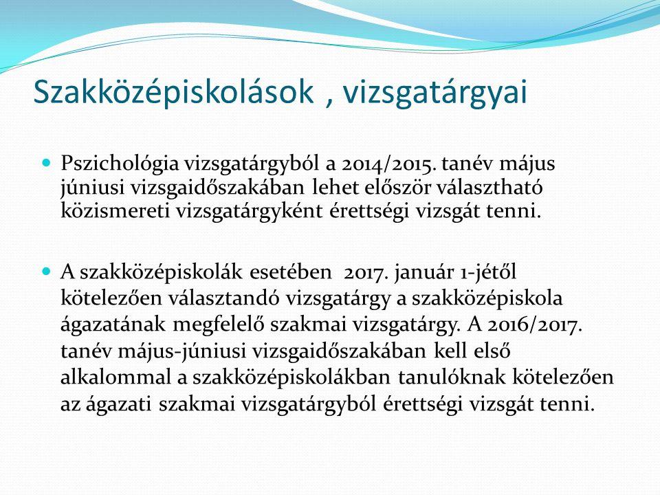 Szakközépiskolások, vizsgatárgyai Pszichológia vizsgatárgyból a 2014/2015. tanév május júniusi vizsgaidőszakában lehet először választható közismereti