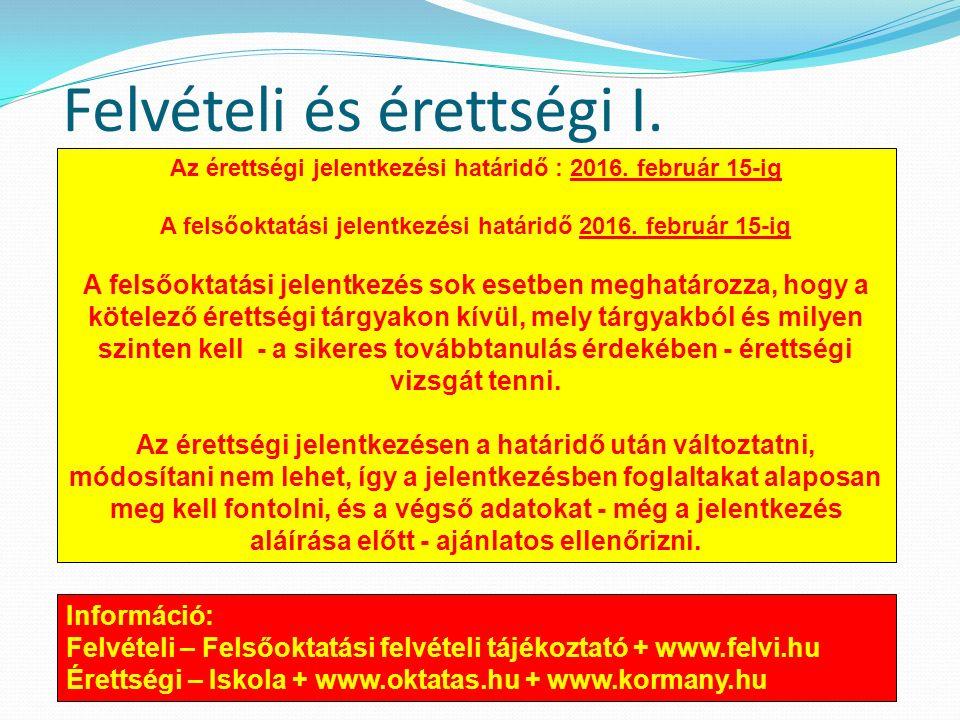Felvételi és érettségi I. Az érettségi jelentkezési határidő : 2016.