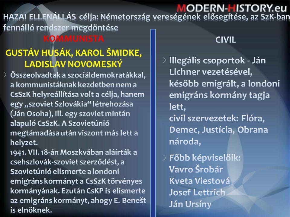 """KOMMUNISTA GUSTÁV HUSÁK, KAROL ŠMIDKE, LADISLAV NOVOMESKÝ Összeolvadtak a szociáldemokratákkal, a kommunistáknak kezdetben nem a CsSzK helyreállítása volt a célja, hanem egy """"szoviet Szlovákia létrehozása (Ján Osoha), ill."""