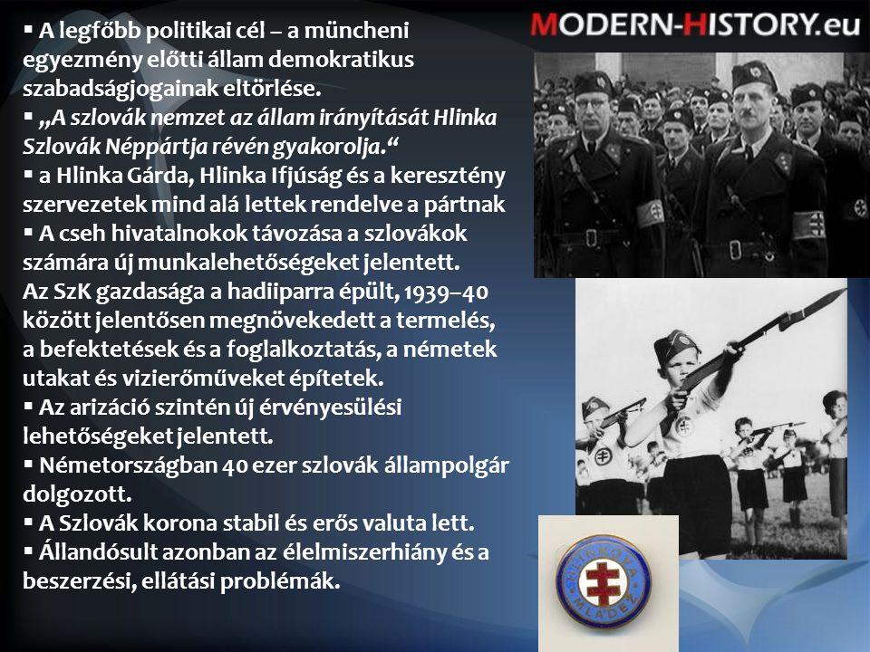  A legfőbb politikai cél – a müncheni egyezmény előtti állam demokratikus szabadságjogainak eltörlése.