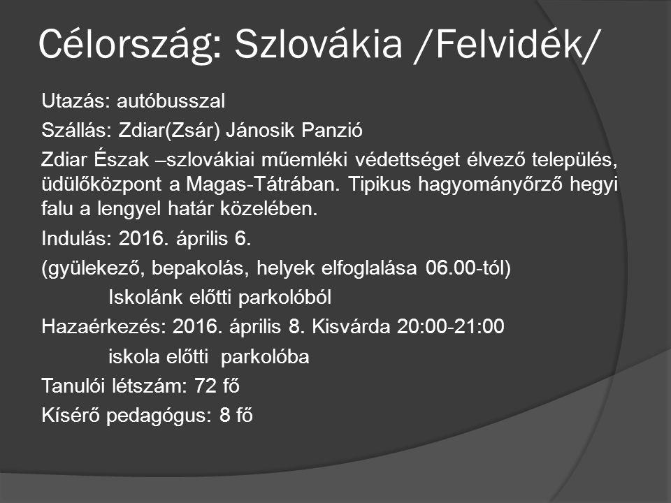 Célország: Szlovákia /Felvidék/ Utazás: autóbusszal Szállás: Zdiar(Zsár) Jánosik Panzió Zdiar Észak –szlovákiai műemléki védettséget élvező település, üdülőközpont a Magas-Tátrában.
