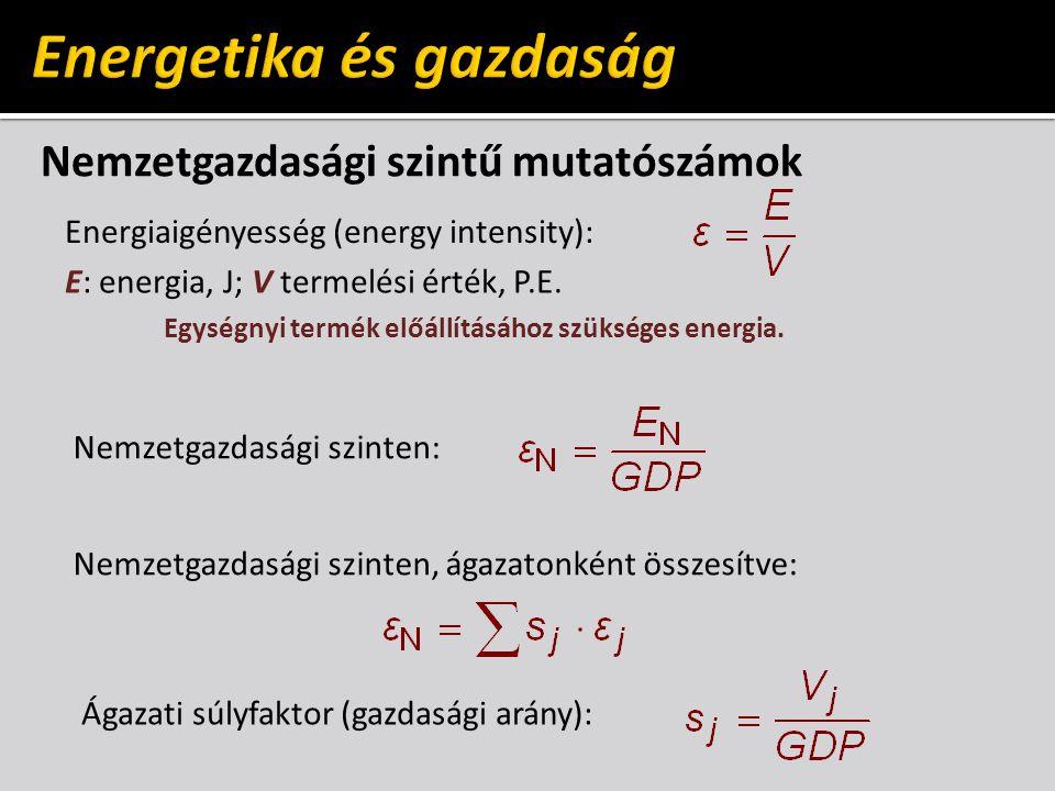 Nemzetgazdasági szintű mutatószámok Energiaigényesség (energy intensity): E: energia, J; V termelési érték, P.E.