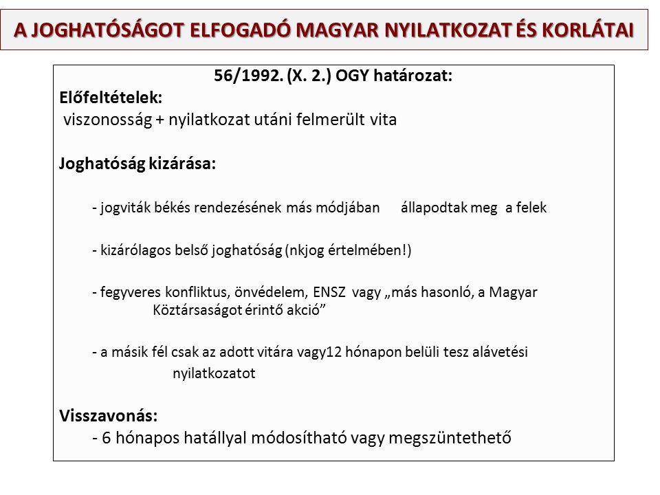A JOGHATÓSÁGOT ELFOGADÓ MAGYAR NYILATKOZAT ÉS KORLÁTAI 56/1992.