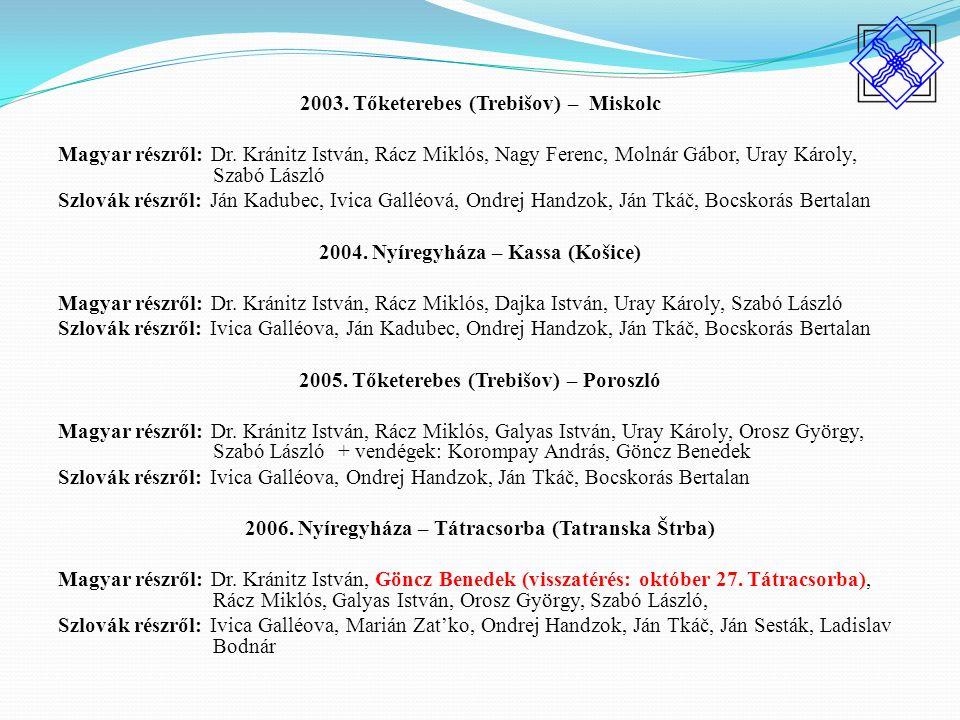 2003. Tőketerebes (Trebišov) – Miskolc Magyar részről: Dr.