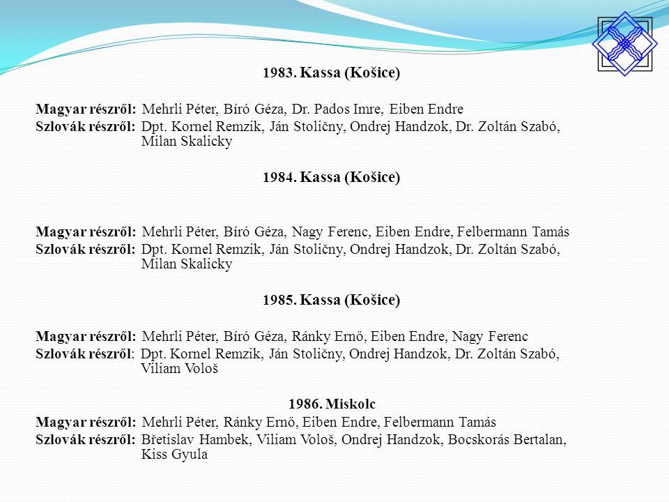 1983. Kassa (Košice) Magyar részről: Mehrli Péter, Bíró Géza, Dr.