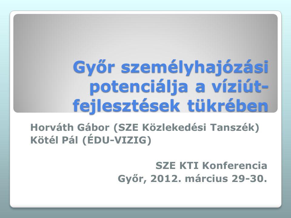 Győr személyhajózási potenciálja a víziút- fejlesztések tükrében Horváth Gábor (SZE Közlekedési Tanszék) Kötél Pál (ÉDU-VIZIG) SZE KTI Konferencia Győr, 2012.