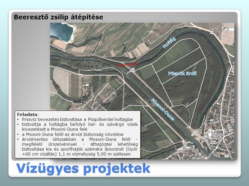 Vízügyes projektek Beeresztő zsilip átépítése Feladata: frissvíz bevezetés biztosítása a Püspökerdei holtágba biztosítja a holtágba befolyó bel- és szivárgó vizek kivezetését a Mosoni-Duna felé a Mosoni-Duna felől az árvízi biztonság növelése árvízmentes időszakban a Mosoni-Duna felől - megfelelő űrszelvénnyel - áthajózási lehetőség biztosítása kis és sporthajók számára (kisvíznél (Győr +60 cm vízállás) 1,1 m vízmélység 5,00 m szélesen Feladata: frissvíz bevezetés biztosítása a Püspökerdei holtágba biztosítja a holtágba befolyó bel- és szivárgó vizek kivezetését a Mosoni-Duna felé a Mosoni-Duna felől az árvízi biztonság növelése árvízmentes időszakban a Mosoni-Duna felől - megfelelő űrszelvénnyel - áthajózási lehetőség biztosítása kis és sporthajók számára (kisvíznél (Győr +60 cm vízállás) 1,1 m vízmélység 5,00 m szélesen