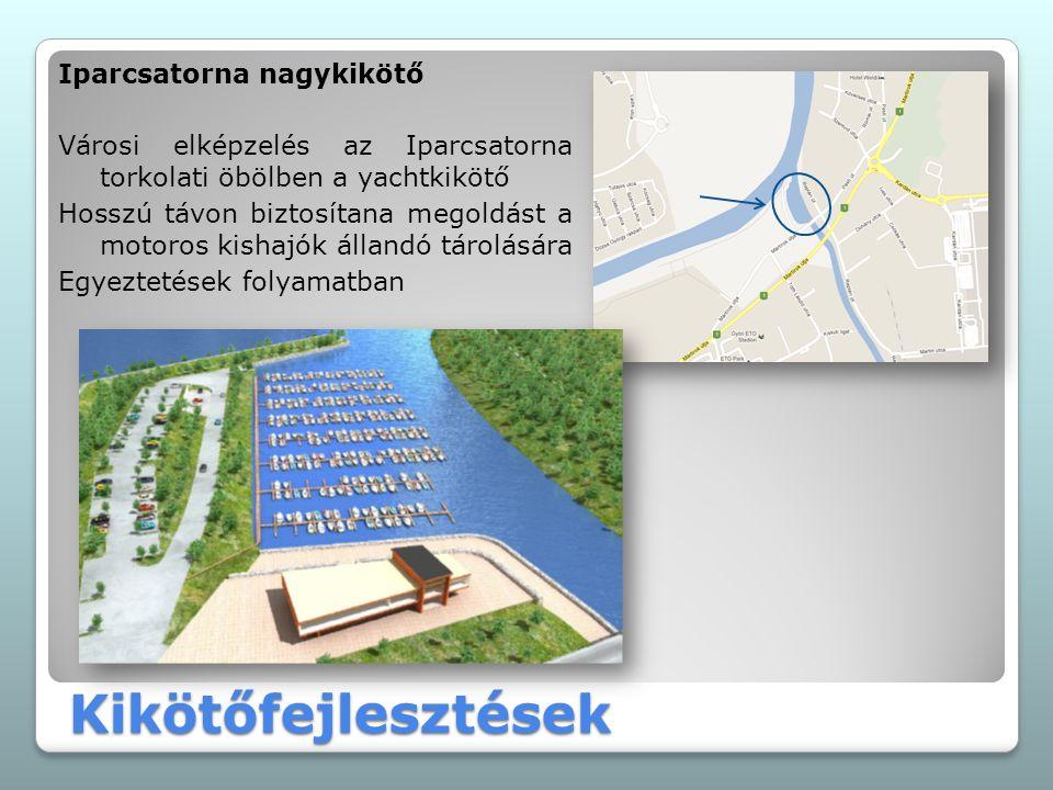Kikötőfejlesztések Iparcsatorna nagykikötő Városi elképzelés az Iparcsatorna torkolati öbölben a yachtkikötő Hosszú távon biztosítana megoldást a moto
