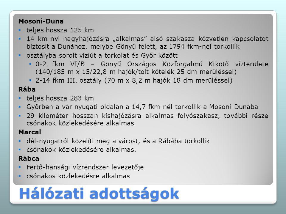 """Mosoni-Duna  teljes hossza 125 km  14 km-nyi nagyhajózásra """"alkalmas"""" alsó szakasza közvetlen kapcsolatot biztosít a Dunához, melybe Gönyű felett, a"""