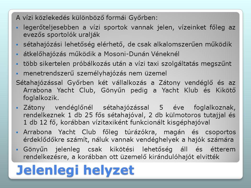 Jelenlegi helyzet A vízi közlekedés különböző formái Győrben:  legerőteljesebben a vízi sportok vannak jelen, vízeinket főleg az evezős sportolók uralják  sétahajózási lehetőség elérhető, de csak alkalomszerűen működik  átkelőhajózás működik a Mosoni-Dunán Véneknél  több sikertelen próbálkozás után a vízi taxi szolgáltatás megszűnt  menetrendszerű személyhajózás nem üzemel Sétahajózással Győrben két vállalkozás a Zátony vendéglő és az Arrabona Yacht Club, Gönyűn pedig a Yacht Klub és Kikötő foglalkozik.